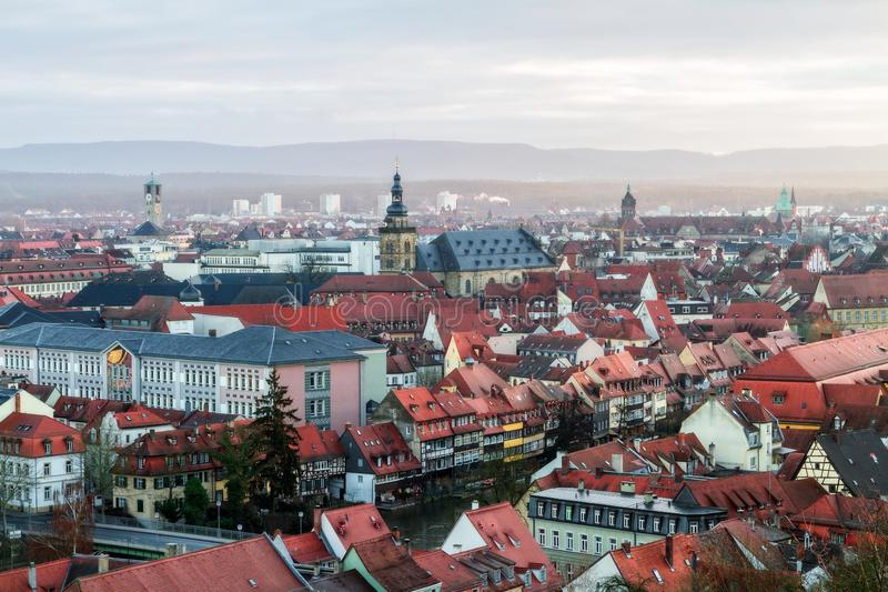 View on the famous tourism spot of Little Venice from the Michaelsberg in Bamberg. Panorama View on the famous tourism spot of Little Venice from the royalty free stock photography