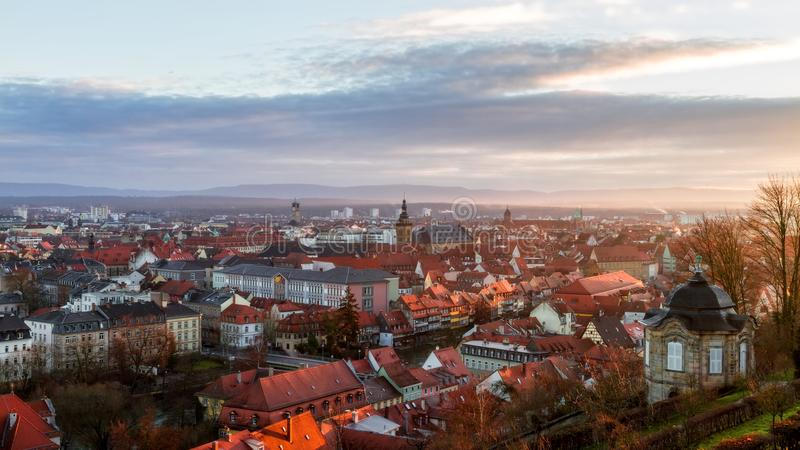 View on the famous tourism spot of Little Venice from the Michaelsberg in Bamberg. Panorama View on the famous tourism spot of Little Venice from the royalty free stock image