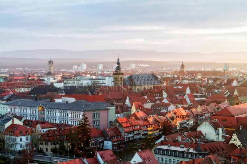 View on the famous tourism spot of Little Venice from the Michaelsberg in Bamberg. Panorama View on the famous tourism spot of Little Venice from the royalty free stock photos