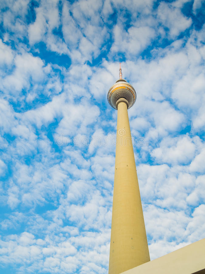 View of the famous TV tower at Alexanderplatz in Berlin stock photos
