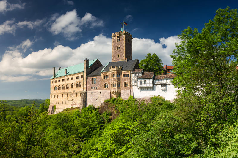 View of the famous Wartburg - a world heritage site stock photos