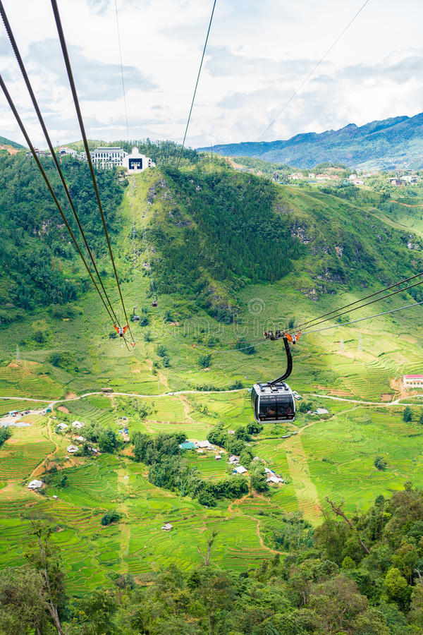 View from Fansipan Cable Car Ride. Sapa, Vietnam royalty free stock images