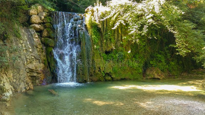 View of fantastic little waterfall in the forest royalty free stock images