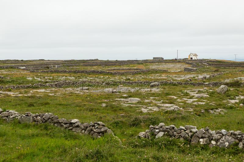 House on the Aran islands. View of a farm and house on the Aran island of Inishmore royalty free stock photo