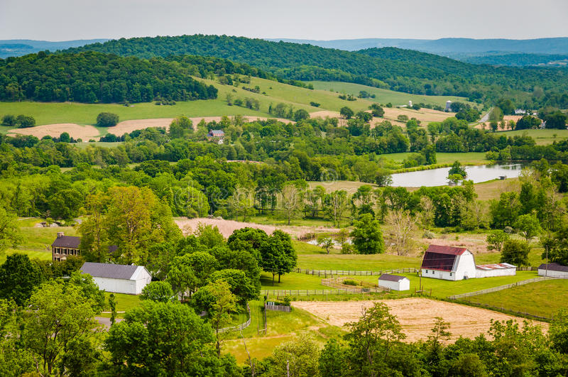 View of farms and hills from Sky Meadows State Park, in the rural Shenandoah Valley of Virginia. stock images
