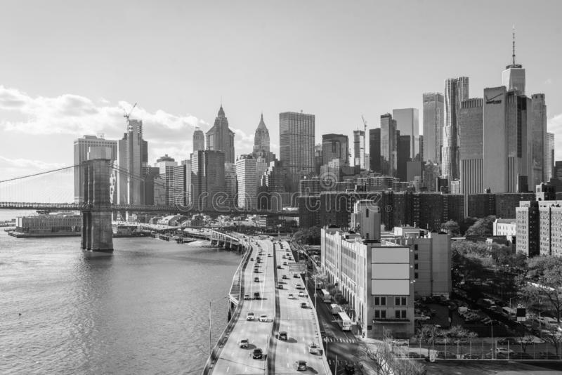 View of FDR Drive and the Financial District, from the Manhattan Bridge in New York City stock photos