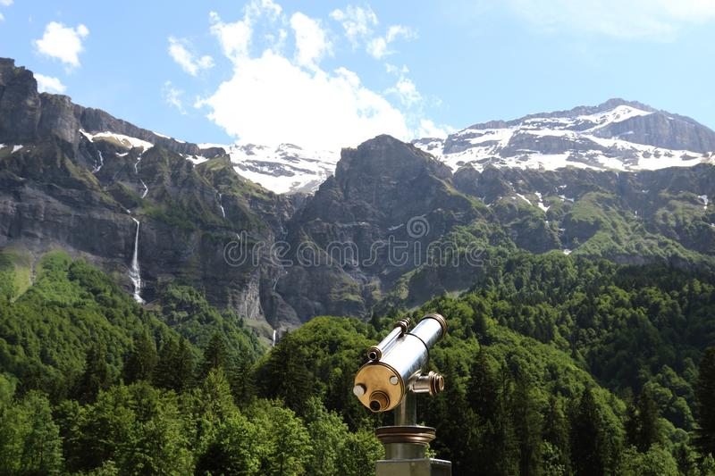 View upon Fer-a-Cheval Cirque and the french snowy alps royalty free stock images