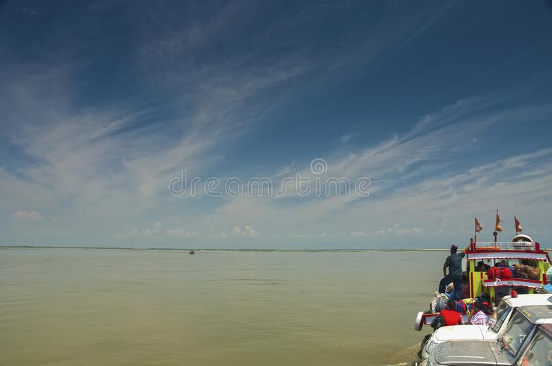 View from Ferry while crossing Brahmaputra River near Tinsukia, Assam. India stock photo