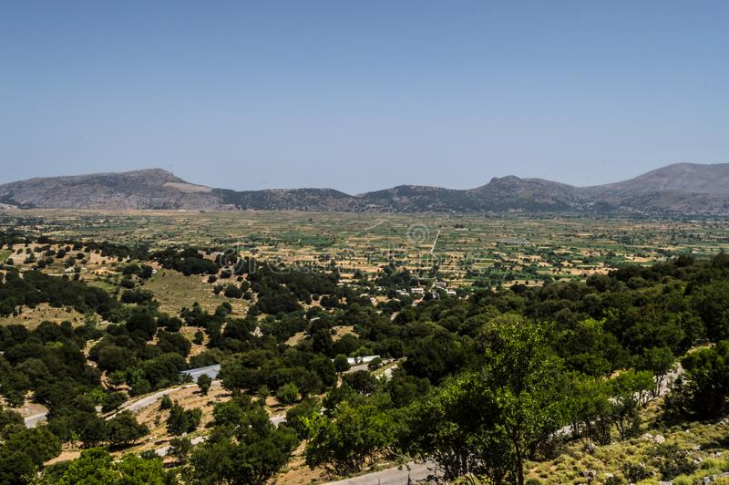 View of the fertile Lassithi Plateau in Crete. Panoramic view of the Lassithi Plateau in Crete, Greece royalty free stock images