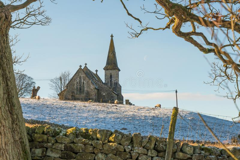 View from Fewston Reservoir toward St Andrews Church, Blubberhouses, North Yorkshire stock photography