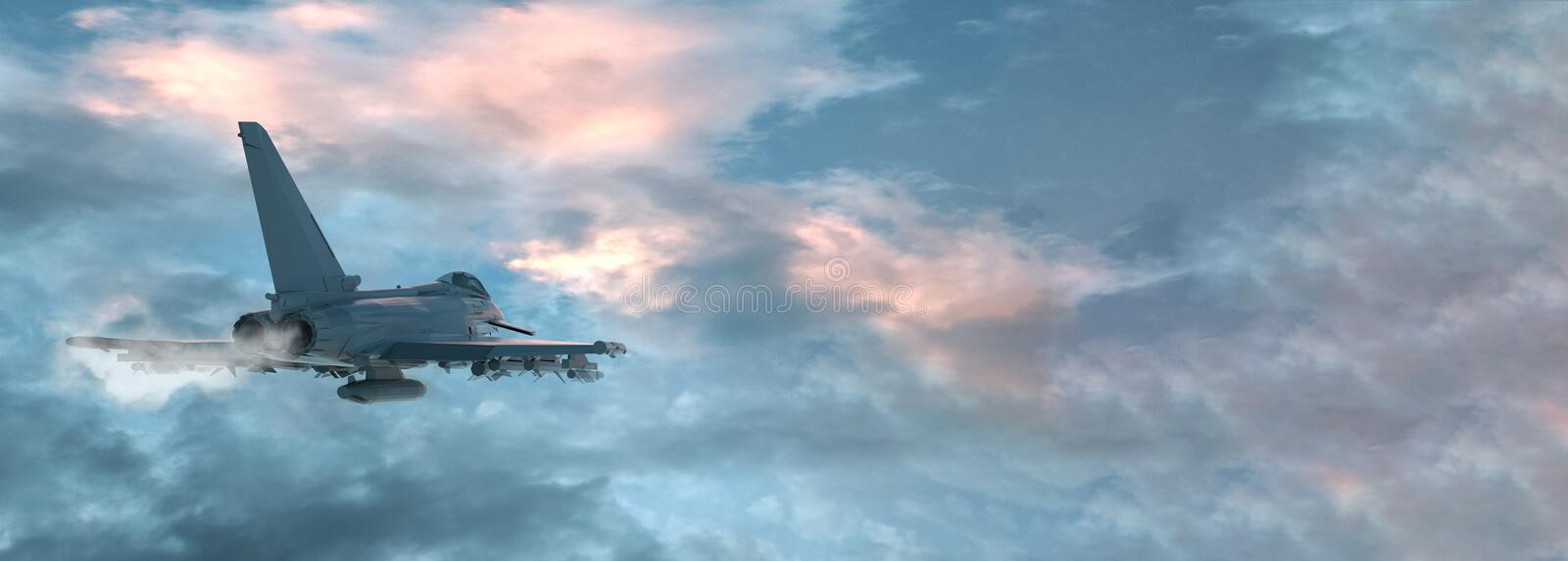View of a fighter jet above the clouds with copy space. 3D render.  royalty free illustration