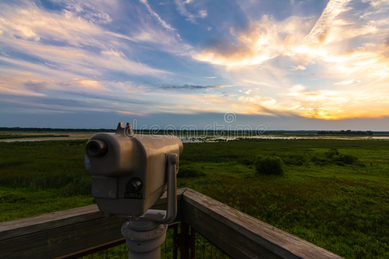 View finder at sunset. Beautiful Summer sunset on the observation tower in Dixon Waterfowl Refuge.  Putnam County, Illinois, USA stock photography
