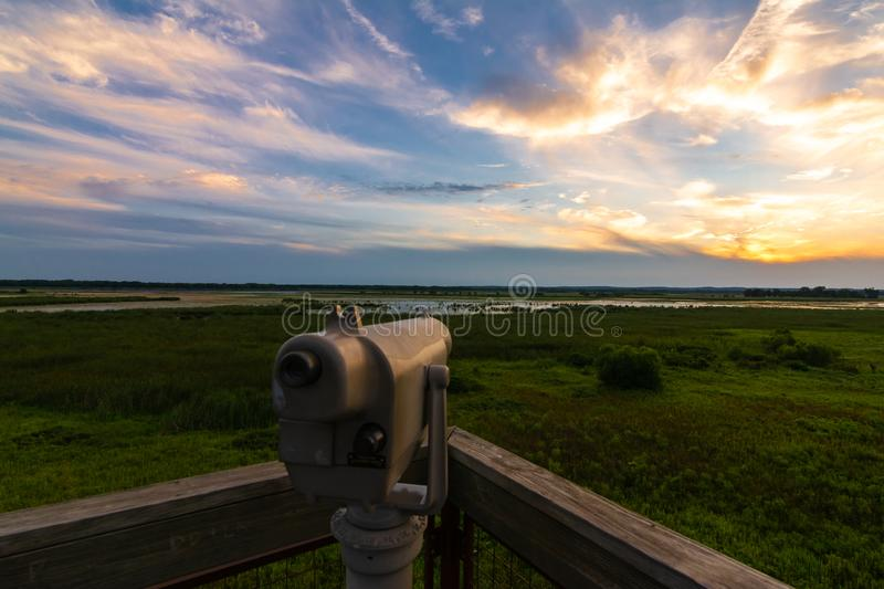 View finder at sunset. Beautiful Summer sunset on the observation tower in Dixon Waterfowl Refuge.  Putnam County, Illinois, USA royalty free stock photo