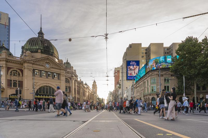 View of Finders Street Station in Melbourne, Australia. Melbourne, Australia - Feb 17, 2018: View of Finders Street Station in Melbourne, Australia. The station stock image