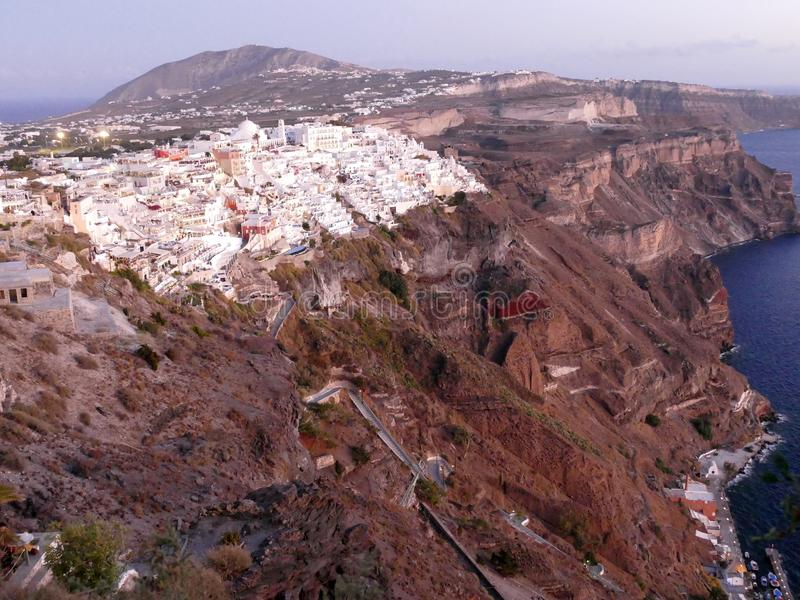 Download View Of Fira In Santorini At Sunset, Viewed From Above Stock Image - Image: 105252683