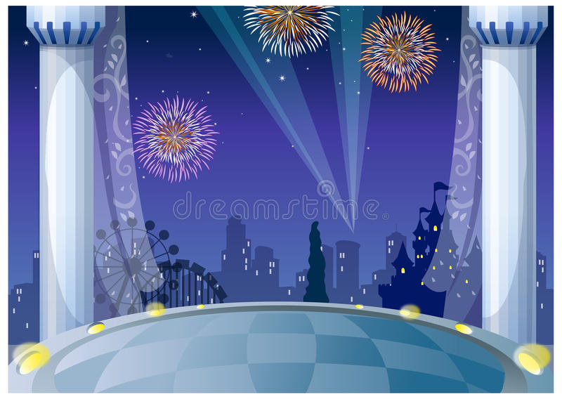 The view of Fireworks over city royalty free illustration