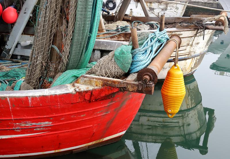 View of fisherman boats in Chioggia little town in the Venetian lagoon stock image