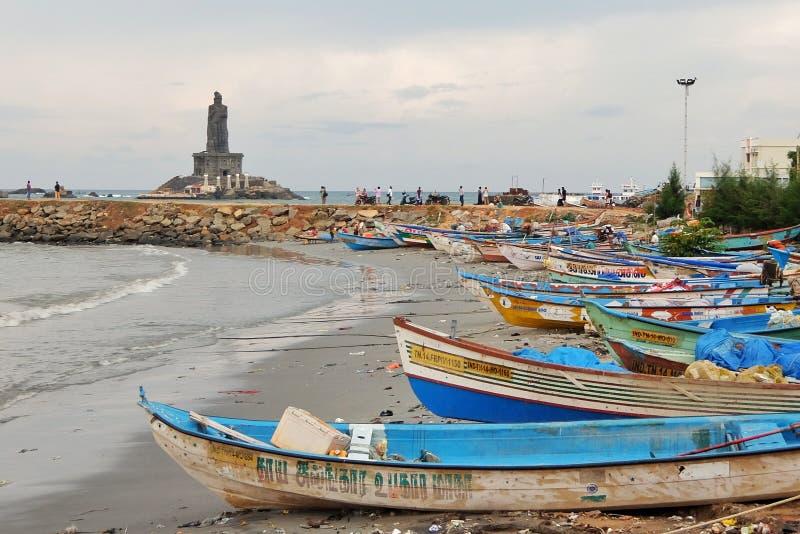 View of a fishermen boats in Kanyakumari. royalty free stock image