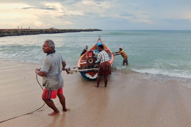View of a fishermen with fishing boats in Kanyakumari. royalty free stock photos