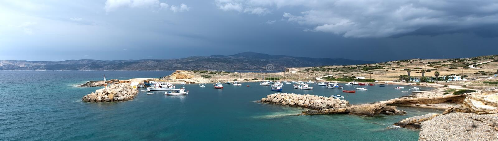 View on fishing port in Koufonissi island royalty free stock photography