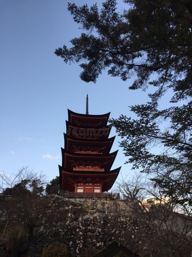View of Five-Story Pagoda, Itsukushima Miyajima, Hiroshima, Japan stock photography