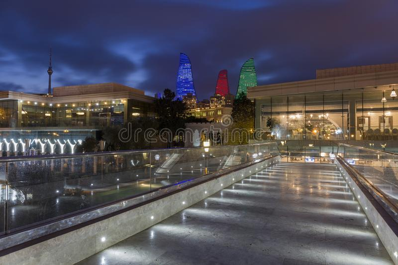 View of the Flame Towers from the Baku`s Venice. stock photo