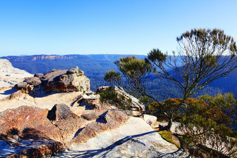 View from Flat Rock Kings Tableland Wentworth Falls Blue Mountains National Park. The westward view from Flat Rock, Kings Tableland is across the Jamison Valley stock photos