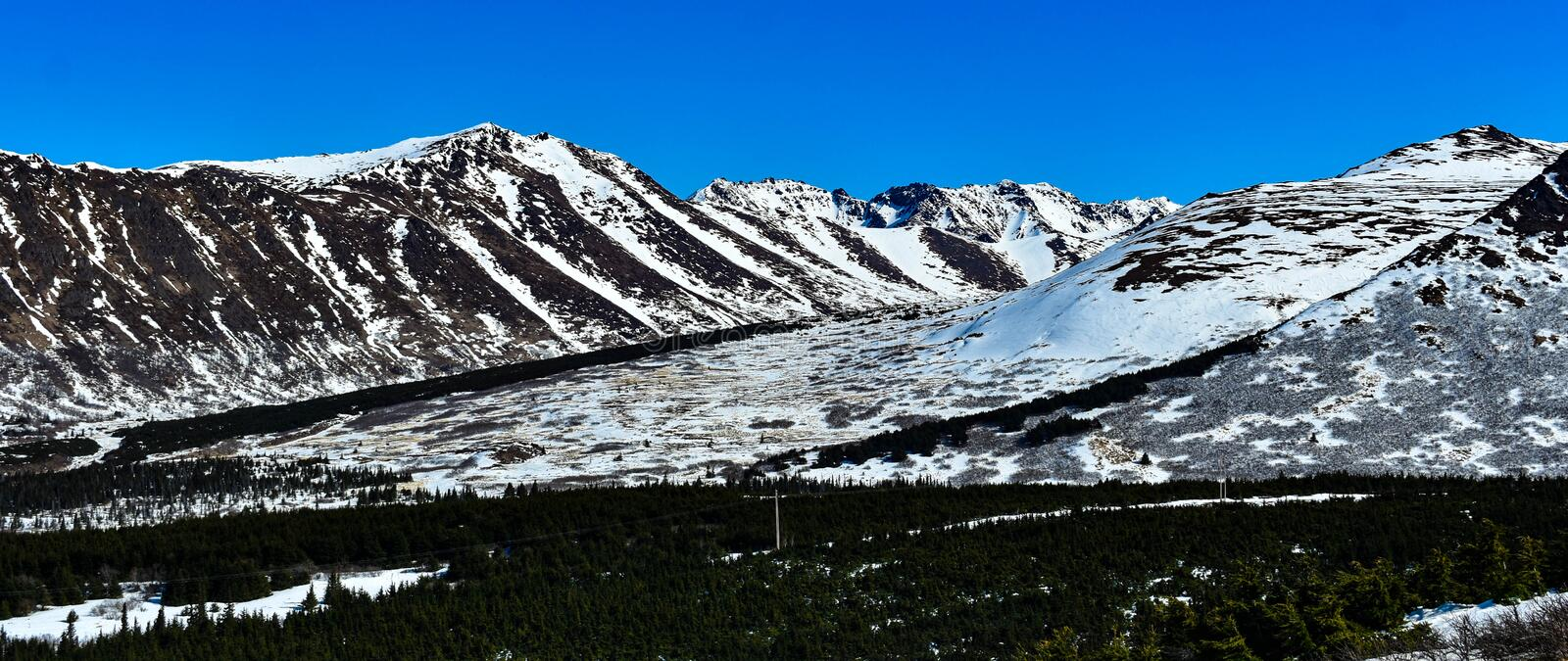 View From Flat Top Alaska. Photos taken above Anchorage on Flat Top. Beautiful spring day with wonderful views stock images