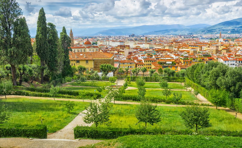View on Florence, Italy -Bardini Gardens royalty free stock photos