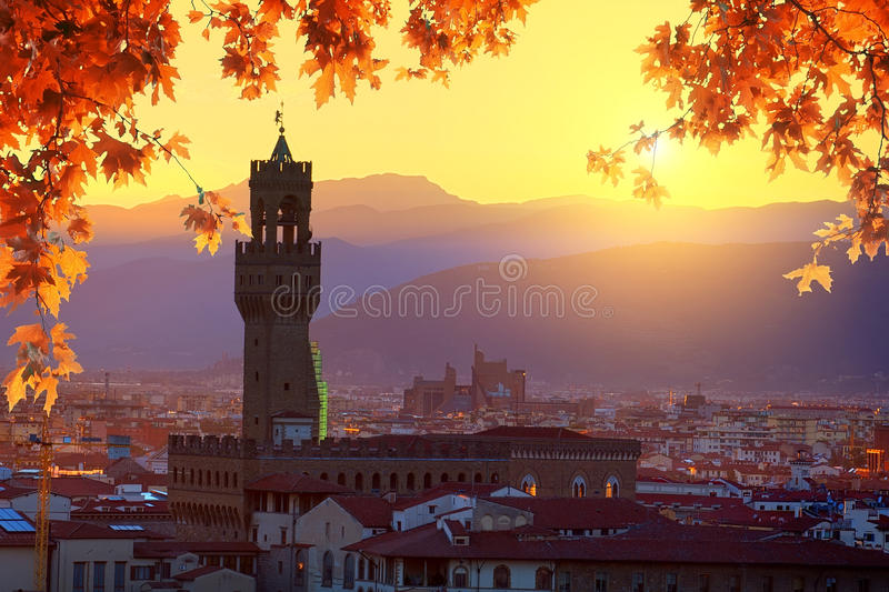 Florence in autumn. View on Florence and Tower of Palazzo Vecchio in autumn, Italy stock images