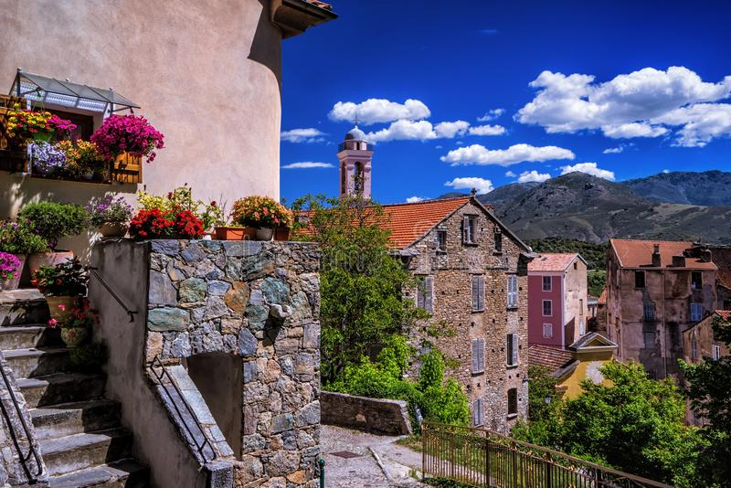 Corte city in corsica island royalty free stock images