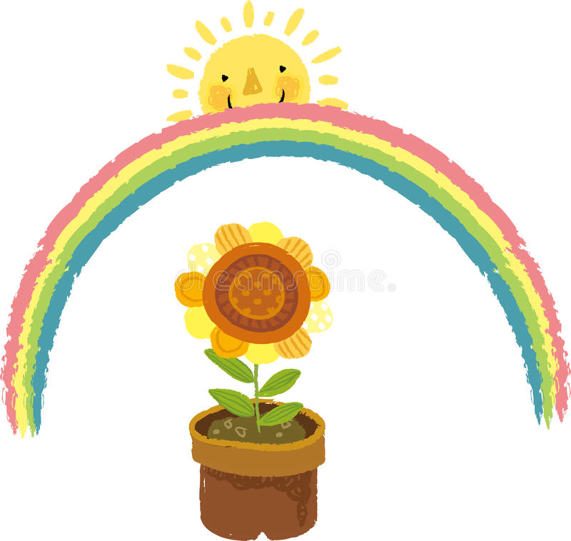The view of flowerpot. With rainbow stock illustration
