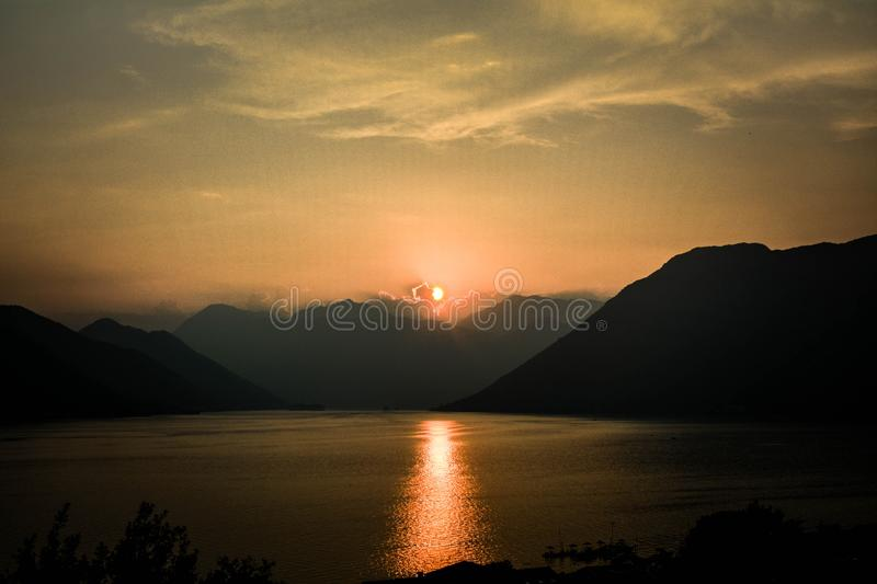 Sunset at Kotor stock images