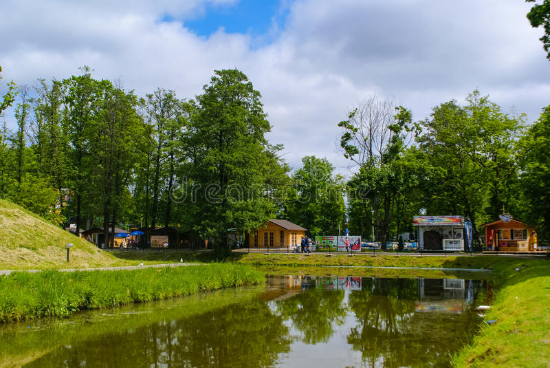 View of the Food stalls. Food stalls at the Youth Recreation Park in Kaliningrad, Russia royalty free stock images