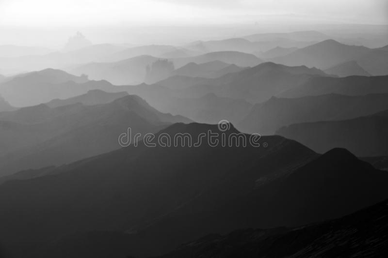 View of the foot of Bromo Mountain in the morning. The view of the foot of Bromo Mountain in the morning with thick fog and the texture of the foot of the royalty free stock photo