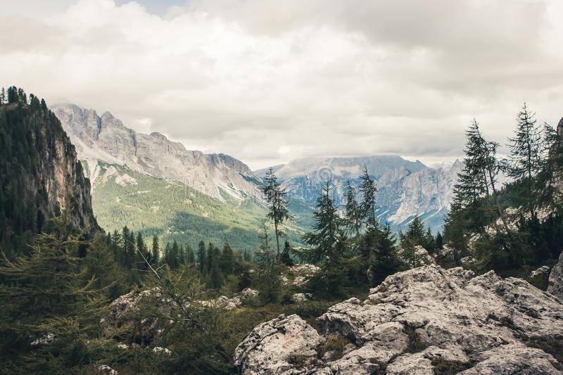View from Forcella Formin at Croda da Lago on a cloudy day. Cort royalty free stock photos