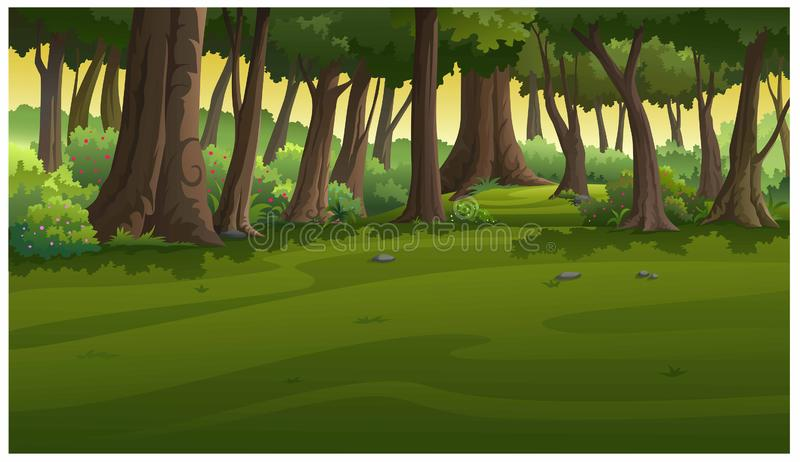 View in the forest at sunset royalty free illustration