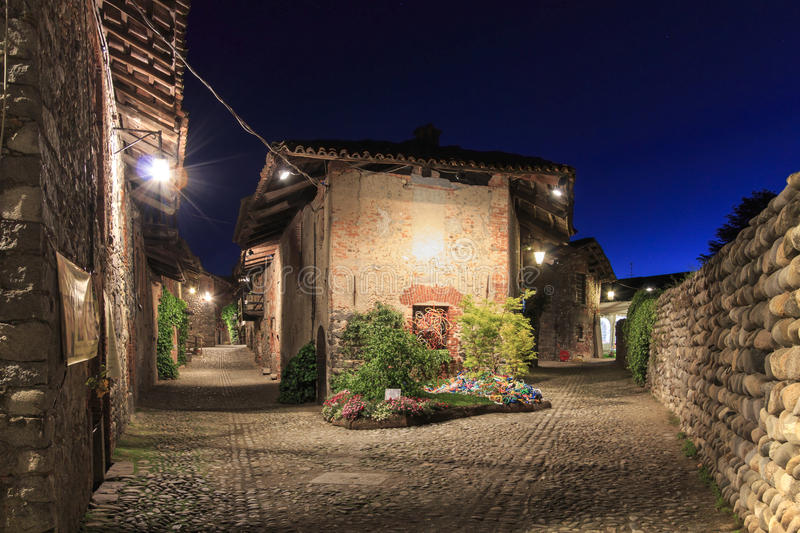 View form the inside of the Medieval village of Ricetto di Candelo in Piedmont, used as a refuge in times of attack during the Mid stock photography