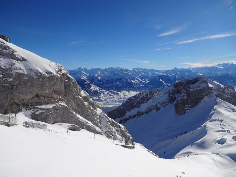 View Form the top of Pilatus (Luzern) royalty free stock images