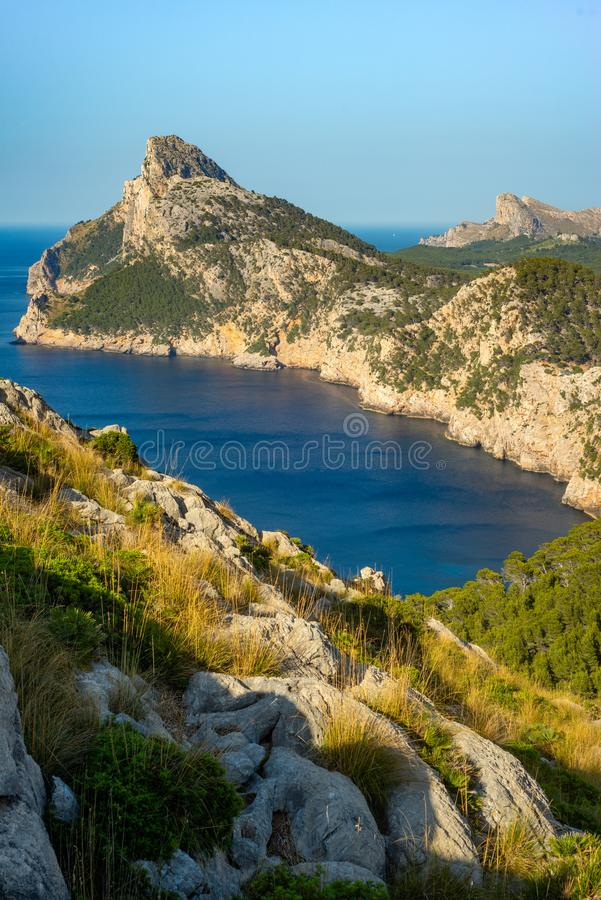 View of Formentor Peninsula and Azure Mediterranean Sea on the Balearic Island of Mallorca royalty free stock images