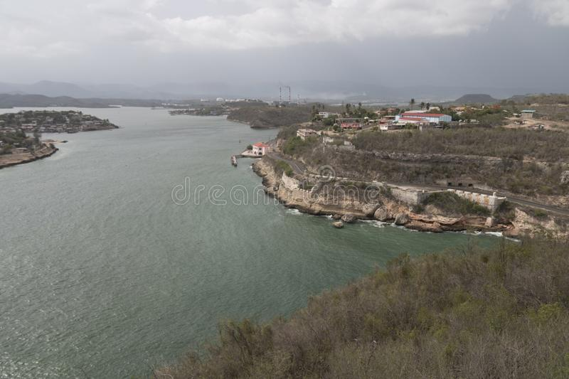 A view from fort El Morro Cuba. stock photos