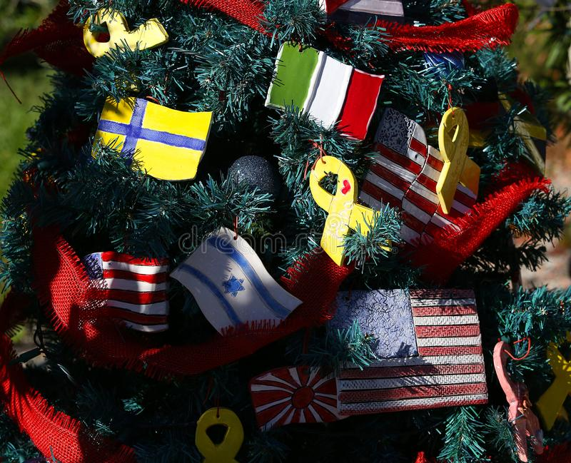 Patriotic christmas tree in fort Myers, Florida, usa. A view in FORT MYERS, UNITED STATES, NOVEMBER 25, 2017 : patriotic decorated christmas tree , november 25 stock photography