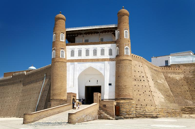 View of fortres Ark - Ark entrance - City of Bukhara. Uzbekistan royalty free stock image