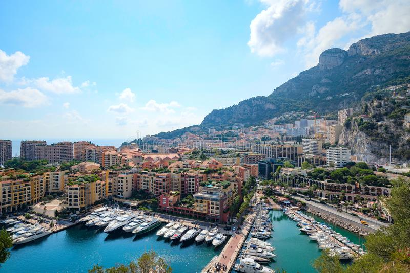 The view from the fortress on luxury homes yachts in Monaco stock photos