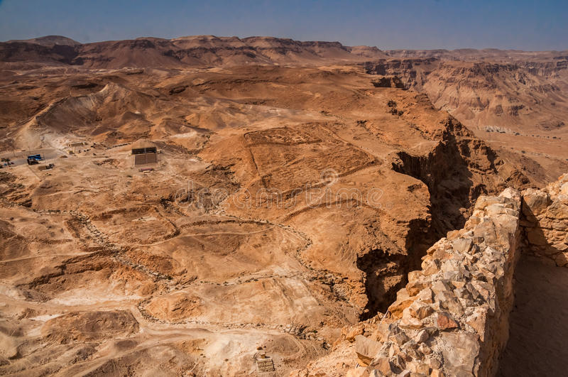 View from fortress Masada over Judean Desert, lsrael. Masada - ancient fortress in the South of Israel, on the eastern edge of the Judean Desert overlooking the royalty free stock images