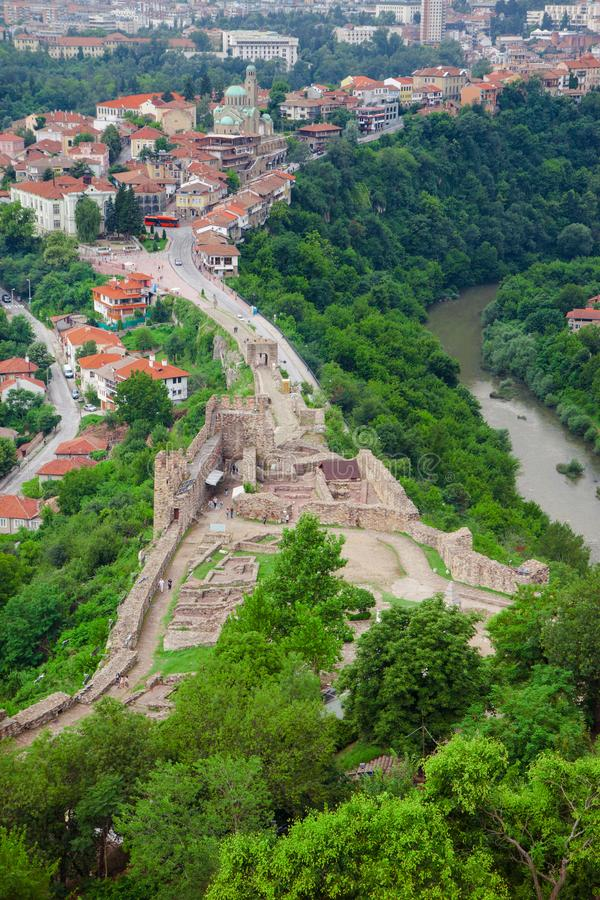View from the fortress Tsarevets in Veliko Tarnovo on a cloudy s stock images