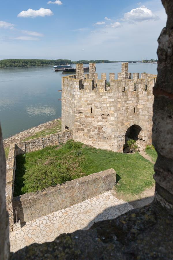 View from the fortress wall to the outer watchtower in the ruins of the Smederevo fortress, standing on the banks of the Danube Ri royalty free stock images
