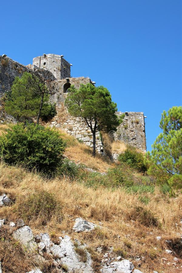 View of the fortress wall of Turkish construction in Albania. royalty free stock photography