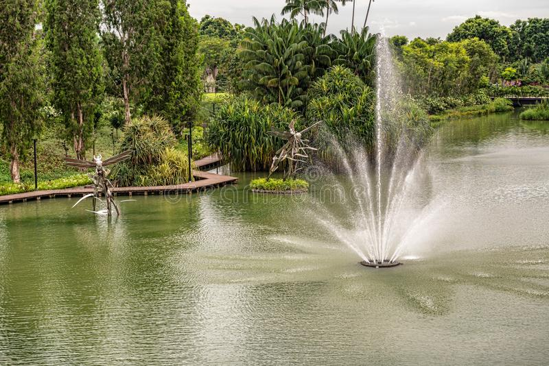 Drangonfly lake in Gardens by the Bay in Singapore. View at the Fountain on the Drangonfly lake in Gardens by the Bay in Singapore stock image