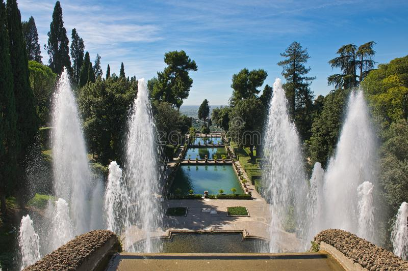 View of fountain of the fish ponds Villa D`Este stock images